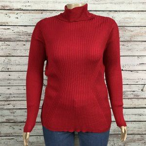 Lane Bryant Red Stretchy Knit Turtleneck Sweater